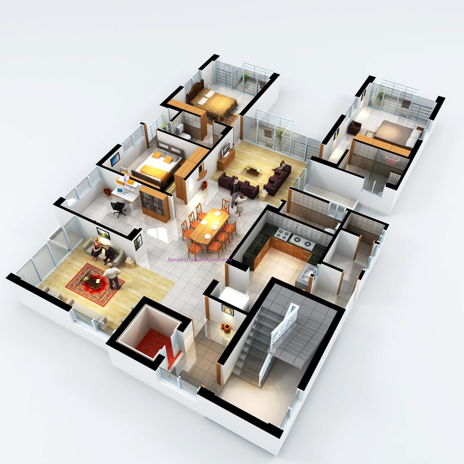 Banani freedom luxury apartments for Plans en 3d